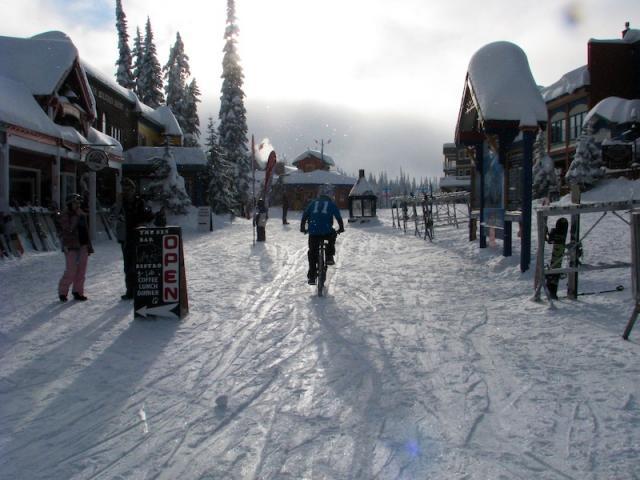 Pedal warm up in the village at silverstar bike park during winter.
