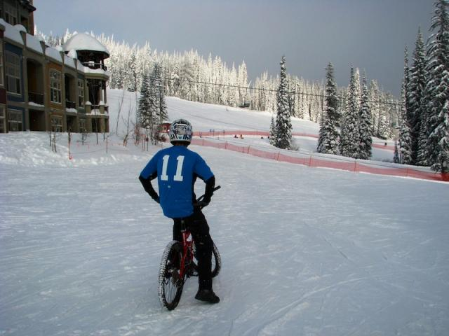 Checking out the scenery for some snow downhill biking at Silverstar bike park.