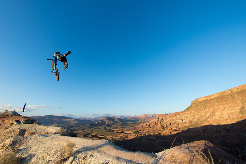 2014-mountain-biker-cam-mccaul-does-a-superman at Rampage