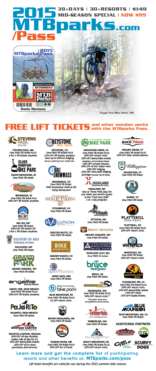 MTBparks Pass includes a free day at Angel Fire plus 50% off additional visits.