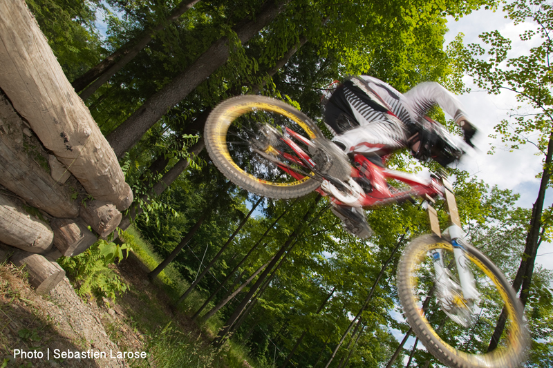 Mountain Biking Jump and Features at Bromont Bike Park.