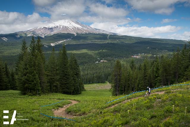 Practice laps beneath Mt. Hood at Skibowl Mountain Bike Park.