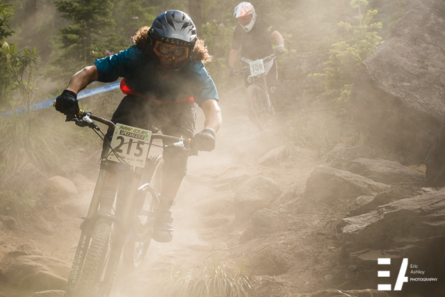 Battling dust during practice runs at the NW Cup # 3 at Skibowl Mountain Bike Park.
