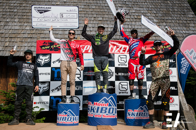 Pro Men Podium for the 2015 NW Cup at Skibowl, Mt. Hood, Oregon.