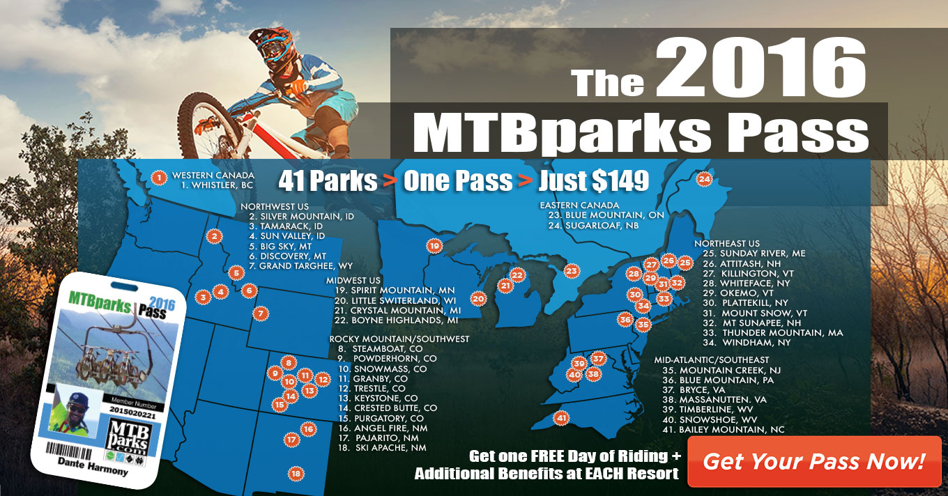 Save BIG this summer at more than 20 Bike Parks across North America with the MTBparks Pass!