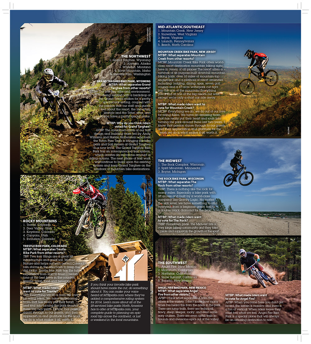 MTBparks reveals best bike parks in March issue of decline magazine.