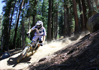 Shredding at China Peak Mountain Bike Park