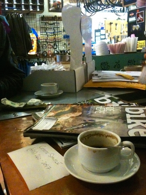The reading material's as fresh as the espresso at Chile Pepper Bikes.