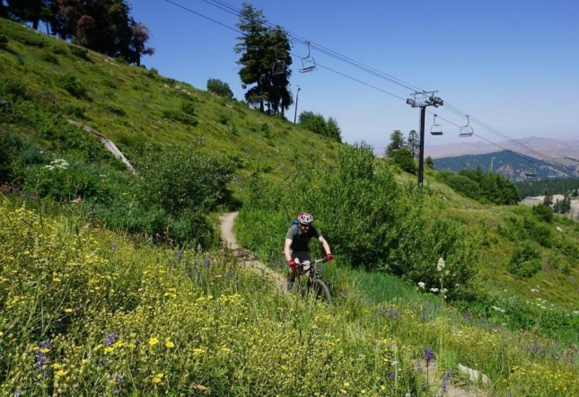 John Hart, a former Bogus Basin marketing director, bikes along the Deer Point trail.