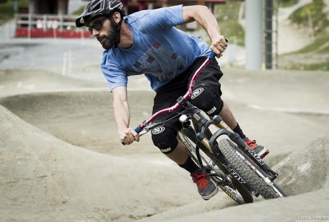 Bike Park Manager Brian Finestone rides Whistler's new pump track.
