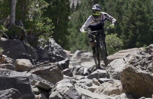 Riley Mueller showcasing the Bullet Course at Mammoth Mountain.