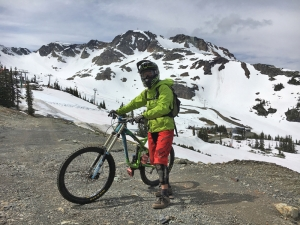 Guides are good for all kinds of things, like accessing areas of the mountain not open to the public. The author prepares to ride The Roundhouse to Pika's Traverse.