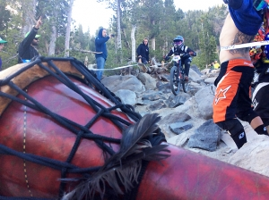 Heckle bellies and bongos were in no short supply during the Pro GRT downhill.