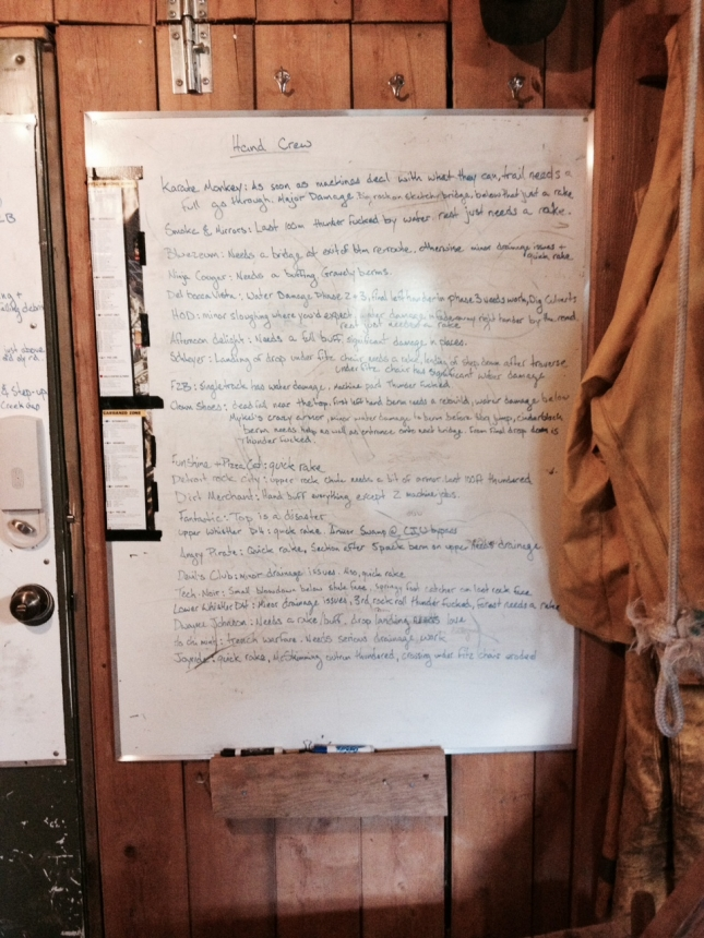 The list of tasks remaining for the hand trail crew is a stark reminder of the impending early opening.