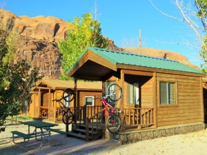 The cabins at Moab Valley RV Resort and Campground feature hooks to hang and lock your bike.