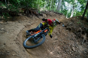 Patrick Alcisto gets opening day goods at Bailey Mountain Bike Park.