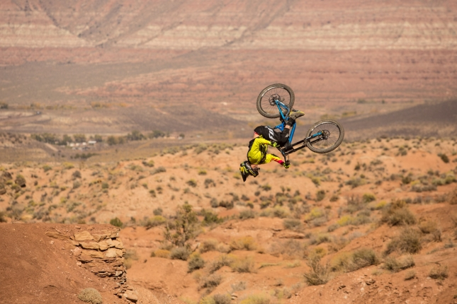 Kurt Sorge corks out a flip on the last hip on his run.