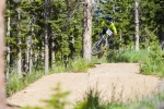 A rider scrubs for speed during the Air DH.