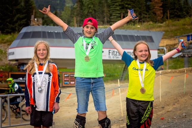 The next generation of lady shredders at Whistler's Phat Kidz race.
