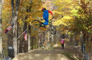 Robert Condella attempts the first back-flip at the Halloween Jump Jam