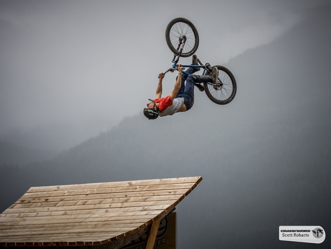 Testa Torquato puts down the one and only official run at the Crankworx Joyride today, before the rain set in and the event was postponed.