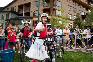 Pond crossing contests dress for the occasion during the 2014 Colorado Freeride Fest.