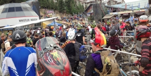 Riders Line Up for the Lift at Whistler