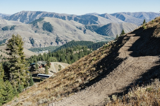 """Saddle Up,"" at Sun Valley is a four-mile, green-rated flow trail and links the top of the mountain to Roundhouse Restaurant."